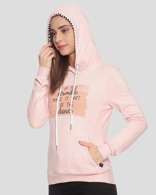 Shop Campus Sutra Women Stylish Printed Hooded Sweatshirt-Back