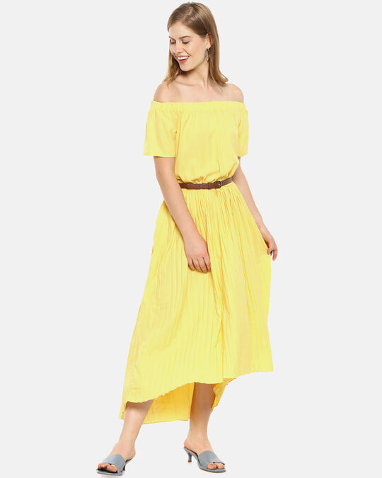 Shop Women Stylish Solid With Belt Casual Dresses-Front