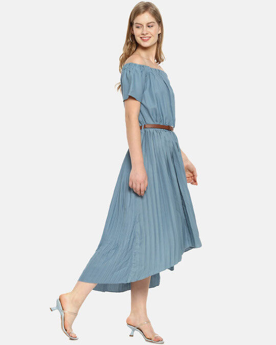 Shop Women Stylish Solid With Belt Casual Dresses-Back