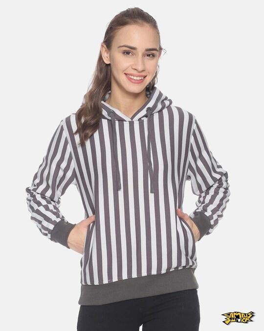 Shop Campus Sutra Women Stylish Striped Hooded Sweatshirt-Front