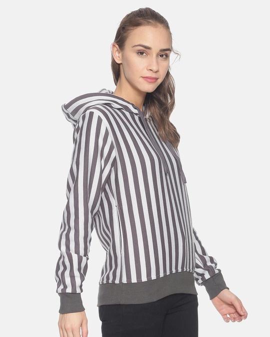 Shop Campus Sutra Women Stylish Striped Hooded Sweatshirt-Back