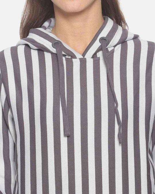 Shop Campus Sutra Women Stylish Striped Hooded Sweatshirt
