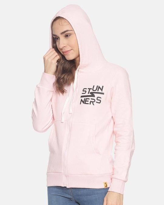 Shop Women Zipper Stylish Printed Hooded Sweatshirt-Design