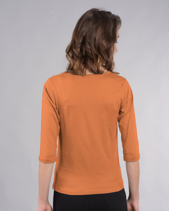Shop Can't See Me Round Neck 3/4 Sleeve T-Shirts Vintage Orange -Back