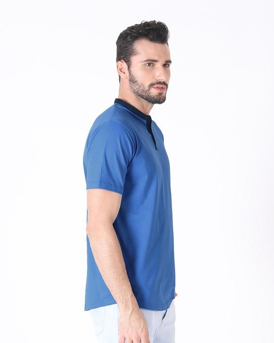 Shop Capri Blue-Navy Blue Contrast Rib Henley T-Shirt-Back