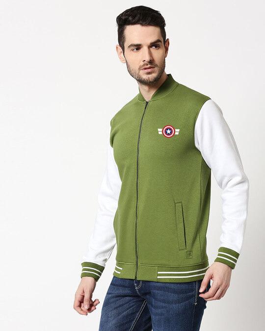Shop Captain America Badge Varsity Bomber Jacket-Back
