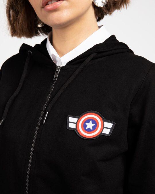 Shop Captain America Badge Zipper Hoodie