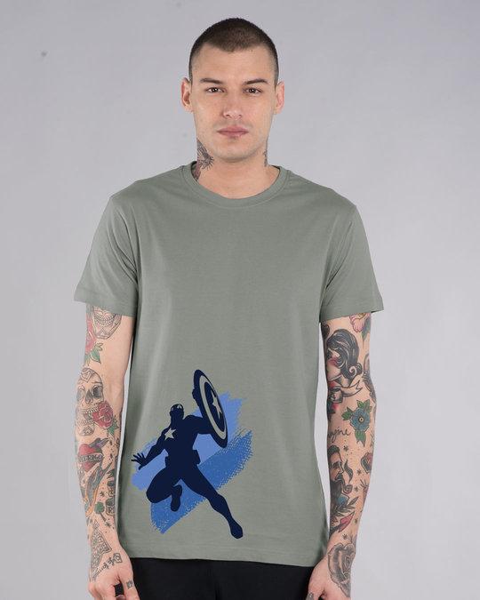 Shop Captain America Blues Half Sleeve T-Shirt (AVL)-Back