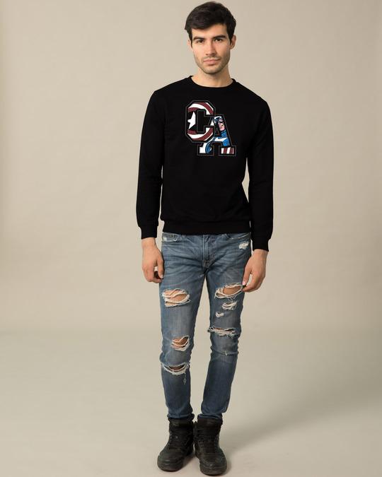 Shop Captain America Clip Fleece Light Sweatshirt (AVL)-Design