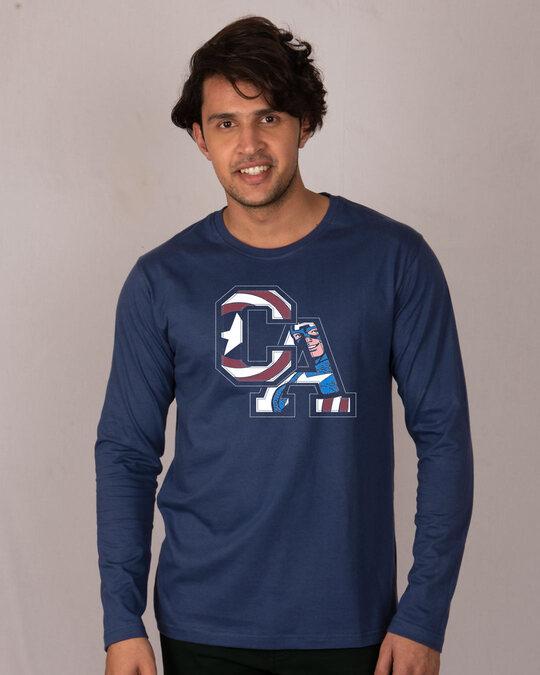 Shop Captain America Clip Full Sleeve T-Shirt (AVL)-Front