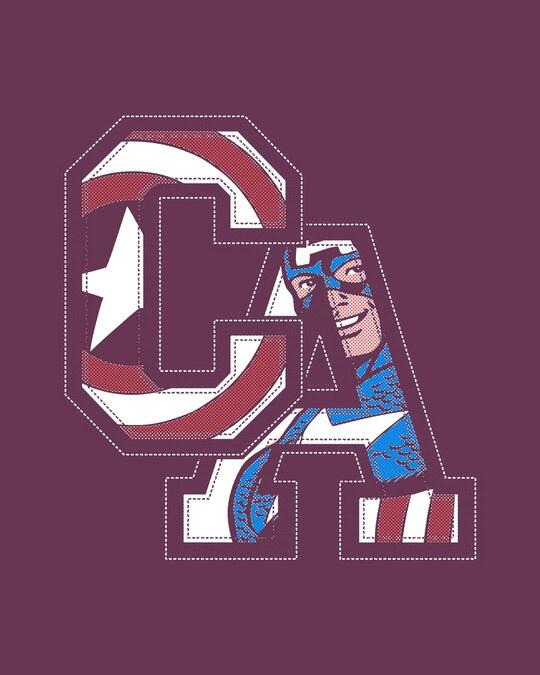 Shop Captain America Clip Half Sleeve T-Shirt (AVL)-Full