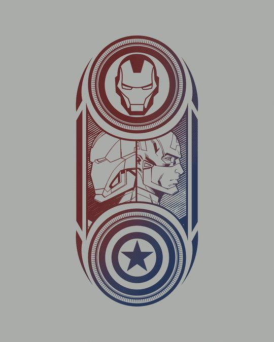 Shop Captain America Iron Man Full Sleeve T-Shirt (AVL)
