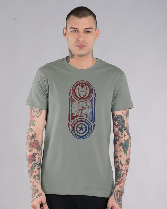Shop Captain America Iron Man Half Sleeve T-Shirt (AVL)-Front
