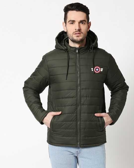 Shop Captain America Logo Puffer Jacket with Detachable Hood-Front