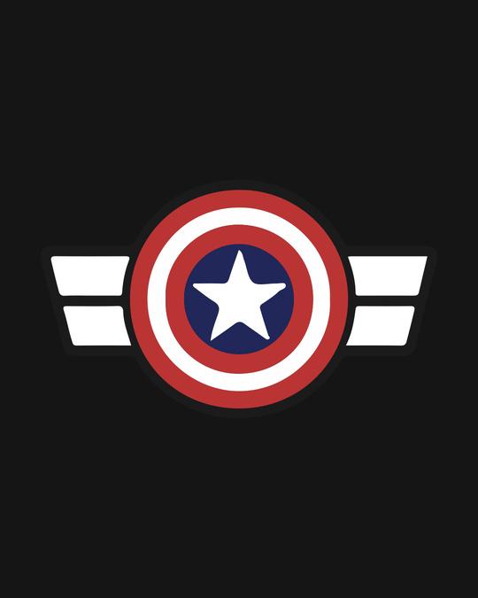 Shop Captain America Logo Puffer Jacket with Detachable Hood-Full