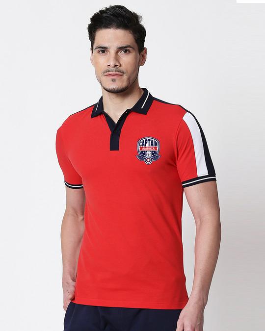 Shop Captain America Logo Sleeve Panel Polo (AVL)-Front