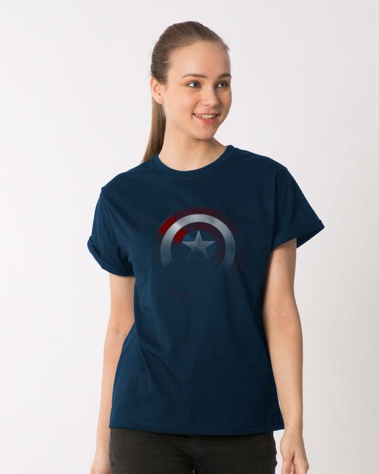 Shop Captain America Shadows Boyfriend T-Shirt (AVL)-Front