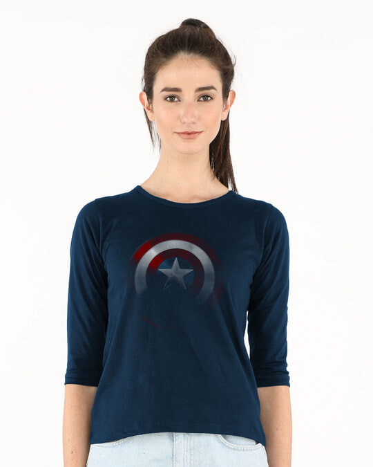 Shop Captain America Shadows Round Neck 3/4th Sleeve T-Shirt (AVL)-Front