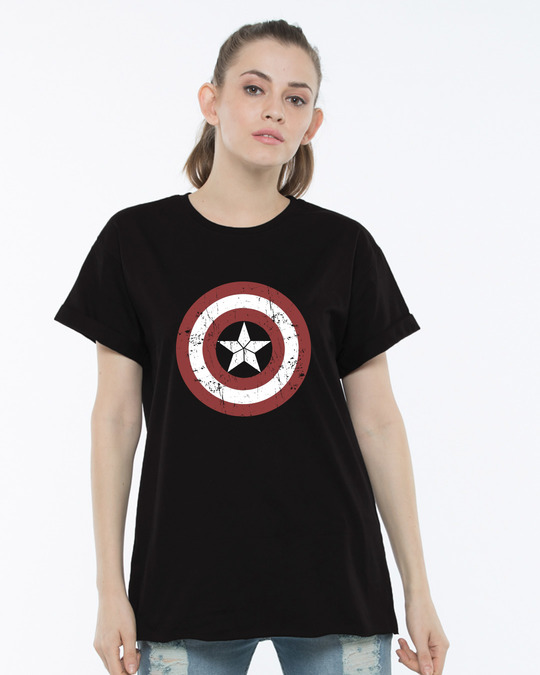2a595344 Buy Captain America Shield Boyfriend T-Shirt Women's Boyfriend T ...