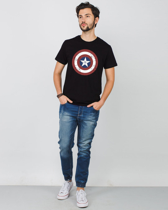 Shop Captain America Shield Half Sleeve T-Shirt (CA)-Design