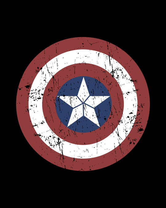 Shop Captain America Shield Half Sleeve T-Shirt (CA)-Full