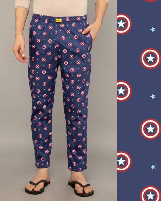 Shop Captain America Shield Poplin Pyjama (AVL)-Front