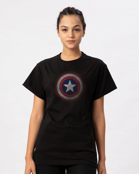 Shop Captain America Shield Version 2 Boyfriend T-Shirt (AVL)-Front