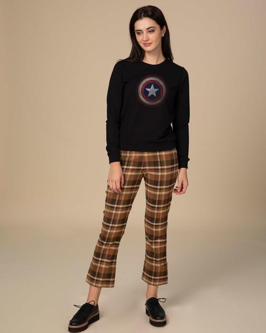 Shop Captain America Shield Version 2 Fleece Light Sweatshirt-Design
