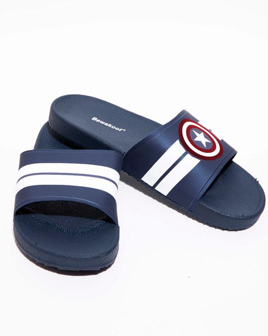 Shop Captain America Stripes Sliders (AVL)-Back
