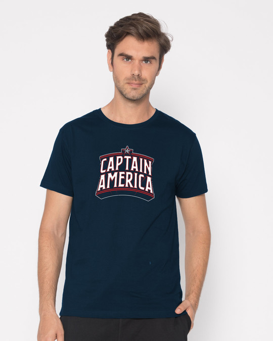 Shop Captain America Typo Half Sleeve T-Shirt (AVL)-Back