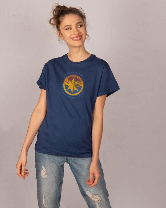 Shop Captain Marvel Logo Boyfriend T-Shirt (AVEGL)-Full