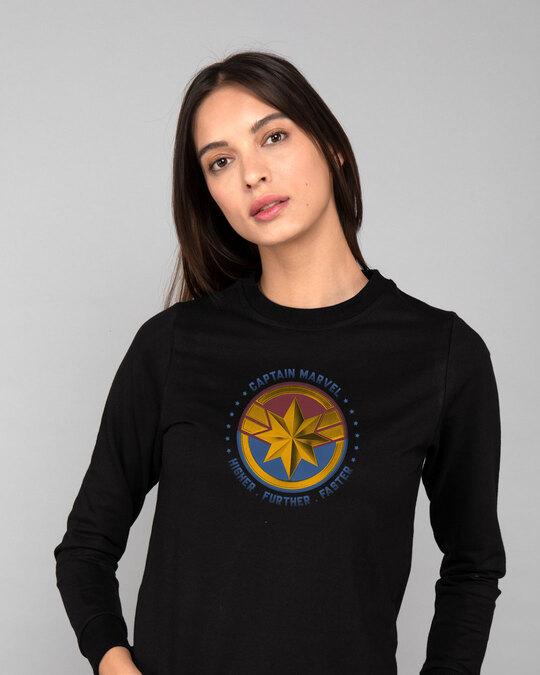 Shop Captain Marvel Logo Fleece Light Sweatshirts (AVEGL)-Front