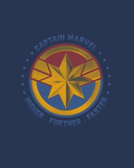 Shop Captain Marvel Logo Half Sleeve T-Shirt (AVEGL)-Full