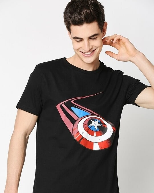 Shop Captain Shield Black Half Sleeves T-Shirt Black-Front