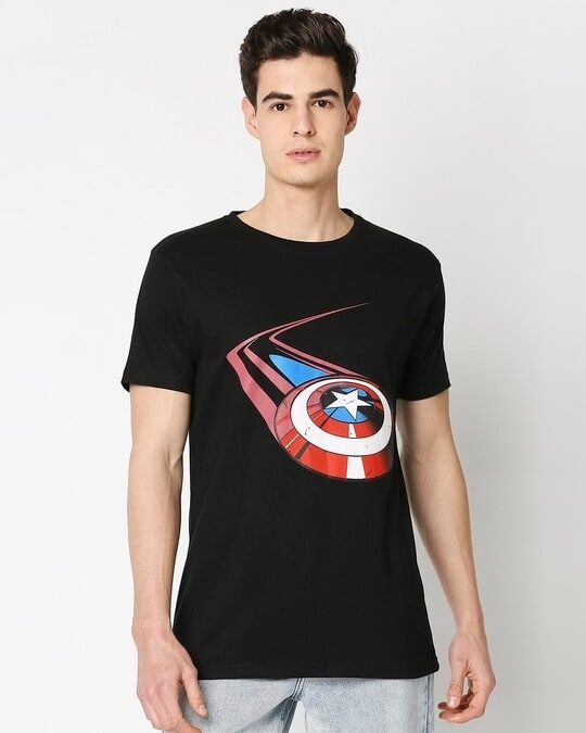 Shop Captain Shield Black Half Sleeves T-Shirt Black-Back