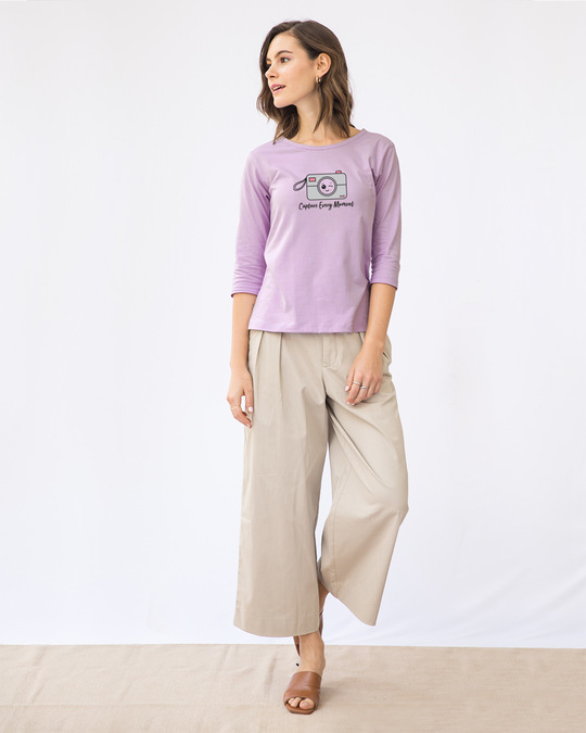 Shop Capture Moment Round Neck 3/4th Sleeve T-Shirt-Full