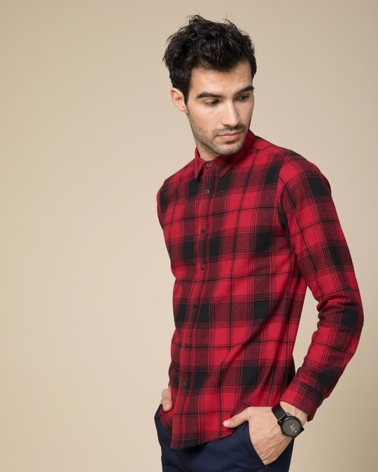 Shop Cardinal Red Checked Slim Fit Shirt-Design