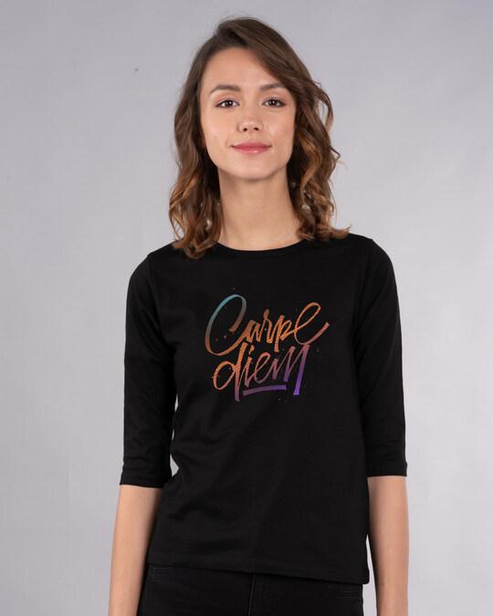 Shop Carpe Diem Colorful Round Neck 3/4th Sleeve T-Shirt-Front