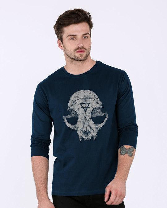 Cat skull fullsleeve t shirt cat skull mens full sleeve for Jockey full sleeve t shirts india