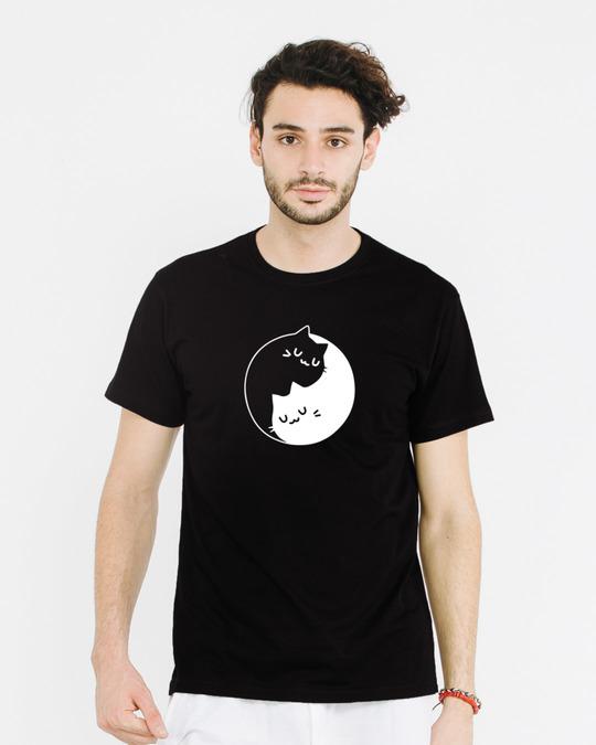 Shop Cat Yin Yang Half Sleeve T-Shirt-Back