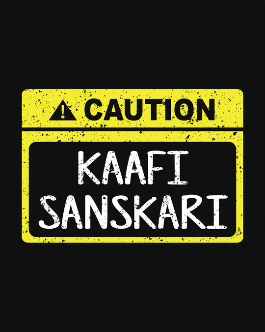 Shop Caution Kaafi Sanskari Basic Round Hem T-Shirt
