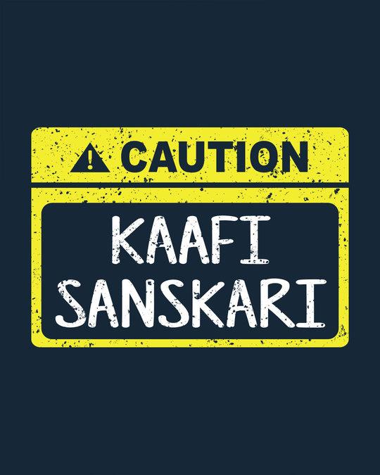 Shop Caution Kaafi Sanskari Basic Round Hem T-Shirt