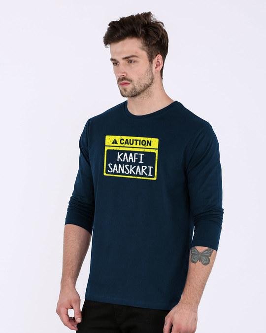 Shop Caution Kaafi Sanskari Full Sleeve T-Shirt-Back