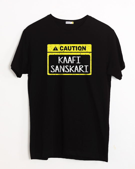Shop Caution Kaafi Sanskari Half Sleeve T-Shirt-Front