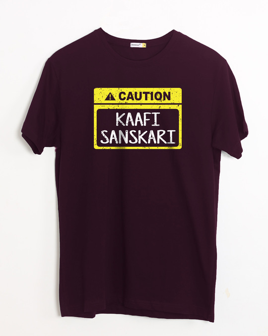Shop Caution Kaafi Sanskari Half Sleeve T-Shirt-Front