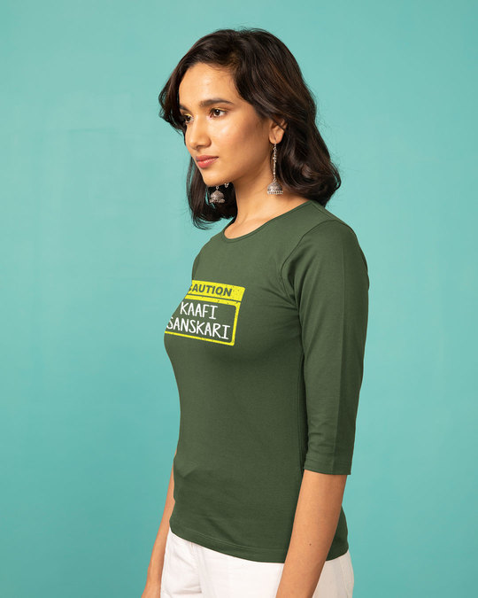 Shop Caution Kaafi Sanskari Round Neck 3/4th Sleeve T-Shirt-Back