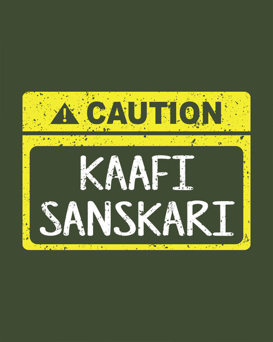 Shop Caution Kaafi Sanskari Round Neck 3/4th Sleeve T-Shirt