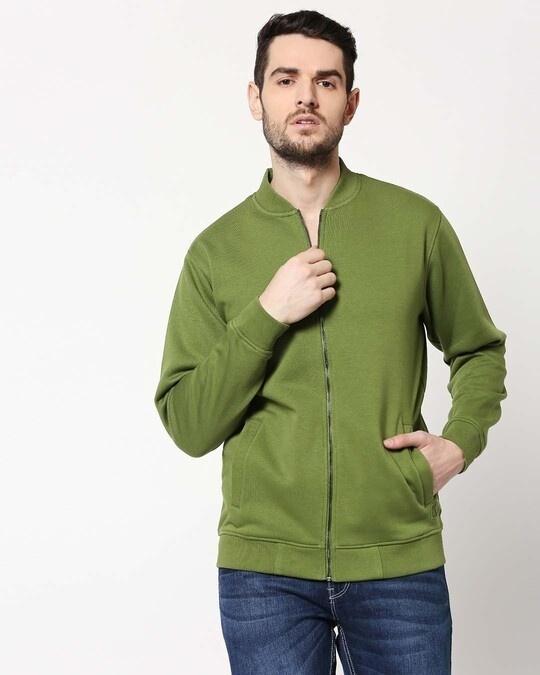 Shop Cedar Green Zipper Bomber Jacket-Front