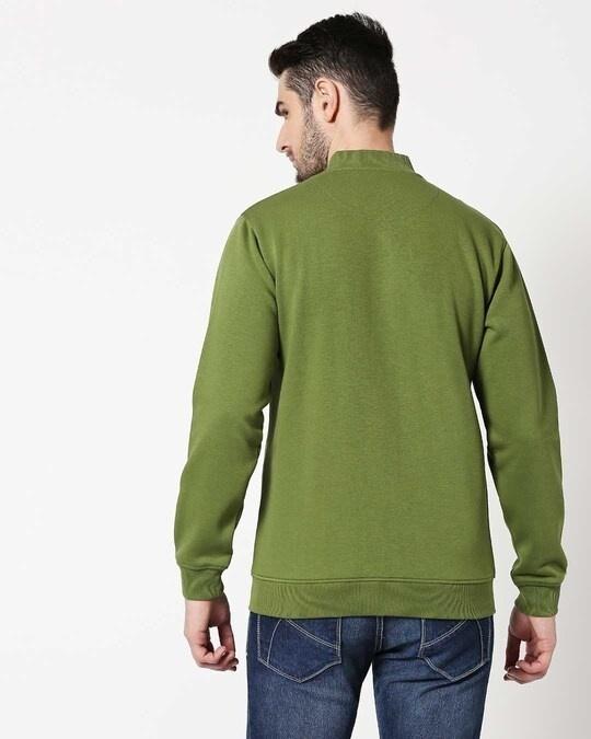 Shop Cedar Green Zipper Bomber Jacket-Full