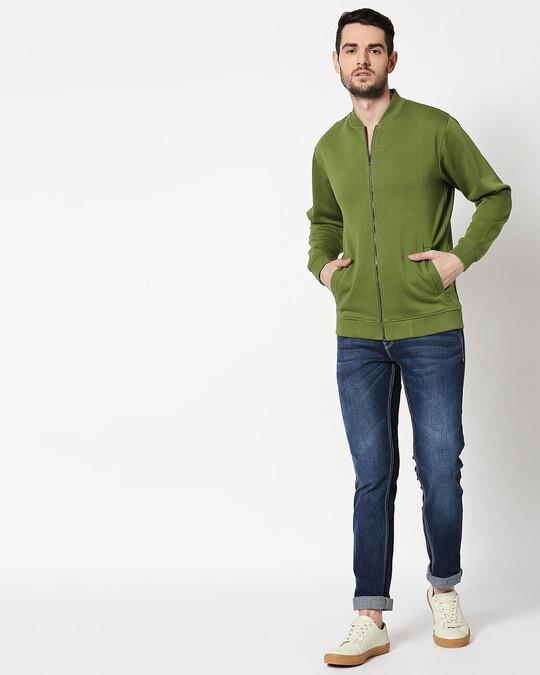 Shop Cedar Green Zipper Bomber Jacket